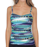 Profile by Gottex Road Trip Underwire D and E Cup Tankini Swim Top 5051D34