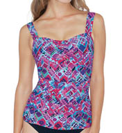Profile by Gottex Mardi Gras Underwire D and E Cup Tankini Swim Top 5071D18