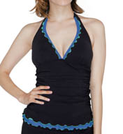 Profile by Gottex Tri Colore V-Neck Halter Tankini Swim Top 5081B88