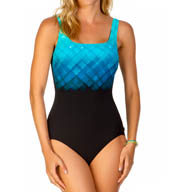 Reebok Underwater Plaid Square Neck One Piece Swimsuit 871366