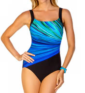 Reebok Fire and Water Square Neck One Piece Swimsuit 871370