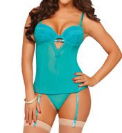Seven 'til Midnight Floral Lace And Mesh Bustier And Thong Set 10529