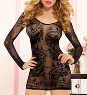 Seven 'til Midnight Seamless Long Sleeve Lace Pattern Dress 9859P