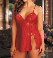Shirley of Hollywood Charmeuse With Lace Babydoll 20016