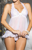 Shirley of Hollywood Stretch Lace & Chiffon Halter Babydoll w/G-string 20477