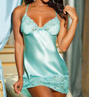 Shirley of Hollywood Beautiful Charmeuse & Tulip Lace Chemise w/ Thong 20562