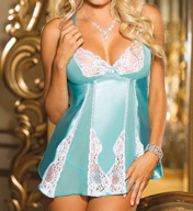 Shirley of Hollywood Charmeuse and Lace Babydoll and G-string Set 20584