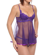 Shirley of Hollywood Scalloped Embroidery & Sheer Net Babydoll 3175