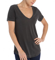 Splendid Vintage 1X1 Short Sleeve V-Neck Shirt Tail Tee ST8467