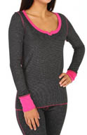 Steve Madden Cozy Up Thermals Sparkle Thermal Lurex Top 476660