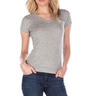 Three Dots 1x1 Short Sleeve Mid-V-Neck Tee AA1V100