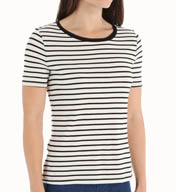 Three Dots Nautical Ponte Stripe Short Sleeve Tee CX1175