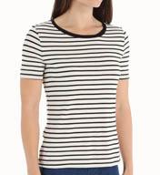 Three Dots Nautical Ponte Stripe Short Sleeve Tee CX1175