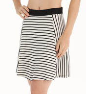 Three Dots Nautical Ponte Stripe Flared Skirt CX3052