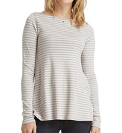 Three Dots Classic Stripe Long Sleeve Boat Neck Tee IV2343