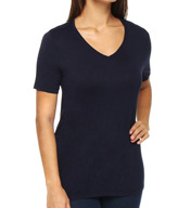 Three Dots Viscose Rouvelle Short Sleeve V-Neck Tee LE142