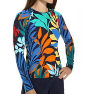 Tommy Bahama Tropical Leaf Long Sleeve Rash Guard TSW25320C
