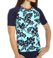 Tommy Bahama Stem Floral Short Sleeve Rash Guard TSW25520C