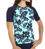 Tommy Bahama Stem Floral Short Sleeve Rash Guard TSW25520C