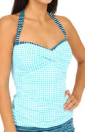 Tommy Bahama Baia Hot Dot & Stripe Halter Tankini Swim Top TSW35903T