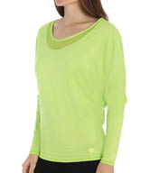 Trina Turk Mesh and Jersey Dolman Long Sleeve Top TR5A855