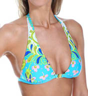 Trina Turk Woodblock Floral Fixed Halter Bra Swim Top TT5B287