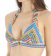 Trina Turk Peruvian Stripe Buckle Front Halter Swim Top TT5FG87