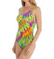 Trina Turk Polynesian Palms One Shoulder One Piece Swimsuit TT5W110
