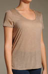 Three Dots Sheer Jersey Short Sleeve Scoop Neck Tee 1S-080