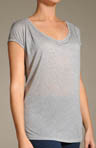 Three Dots Sheer Jersey Tee with Cap Sleeve 1S-084