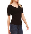 Cotton Knit Elbow Sleeve V-Neck Tee Image