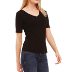 Cotton Knit Elbow Sleeve V-Neck Tee