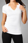 Short Sleeve V-Neck Cotton Top with Tab Details