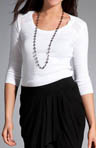 Cotton 3/4 Sleeve Open Neck Top