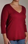 Red Dot Curve Combed Cotton Plus Size Deep V Tee