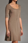 Cotton 1/2 Slv Scoop Neck Henley Dress