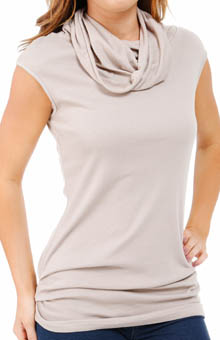 Three Dots 1X1 Cotton Modal Cap Sleeve Turtleneck