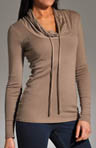 1X1 Cotton Modal L/S Drawstring Cowl Mock Top