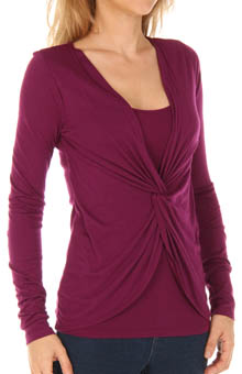 Three Dots 1x1 Long Sleeve Twist Front Top