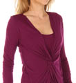 Three Dots 1x1 Long Sleeve Twist Front Top AJ2050