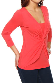 Three Dots Cotton Modal Twist Front 3/4 Sleeve Tee AJ4007