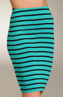 Viscose Stripe Pencil Skirt