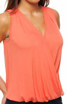 Three Dots Loose Rayon Draped Cross Over Top DV0164