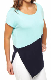Three Dots Loose Rayon Colorblock Asymmetrical Slip Top DV1056