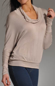 Loose Rayon Jersey Cowl Neck Turtleneck