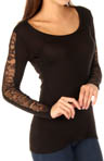 Three Dots Lace Panel Long Sleeve Tee DV2054