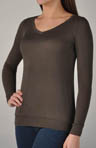 Three Dots Loose Rayon Jersey Classic V-Neck Tunic DV211