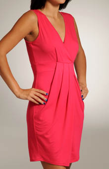 Viscose Lycra V-neck Pleated Front Dress