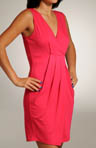 Three Dots Viscose Lycra V-neck Pleated Front Dress EM5047