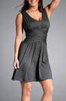 V-Neck Draped Knit Tank Dress